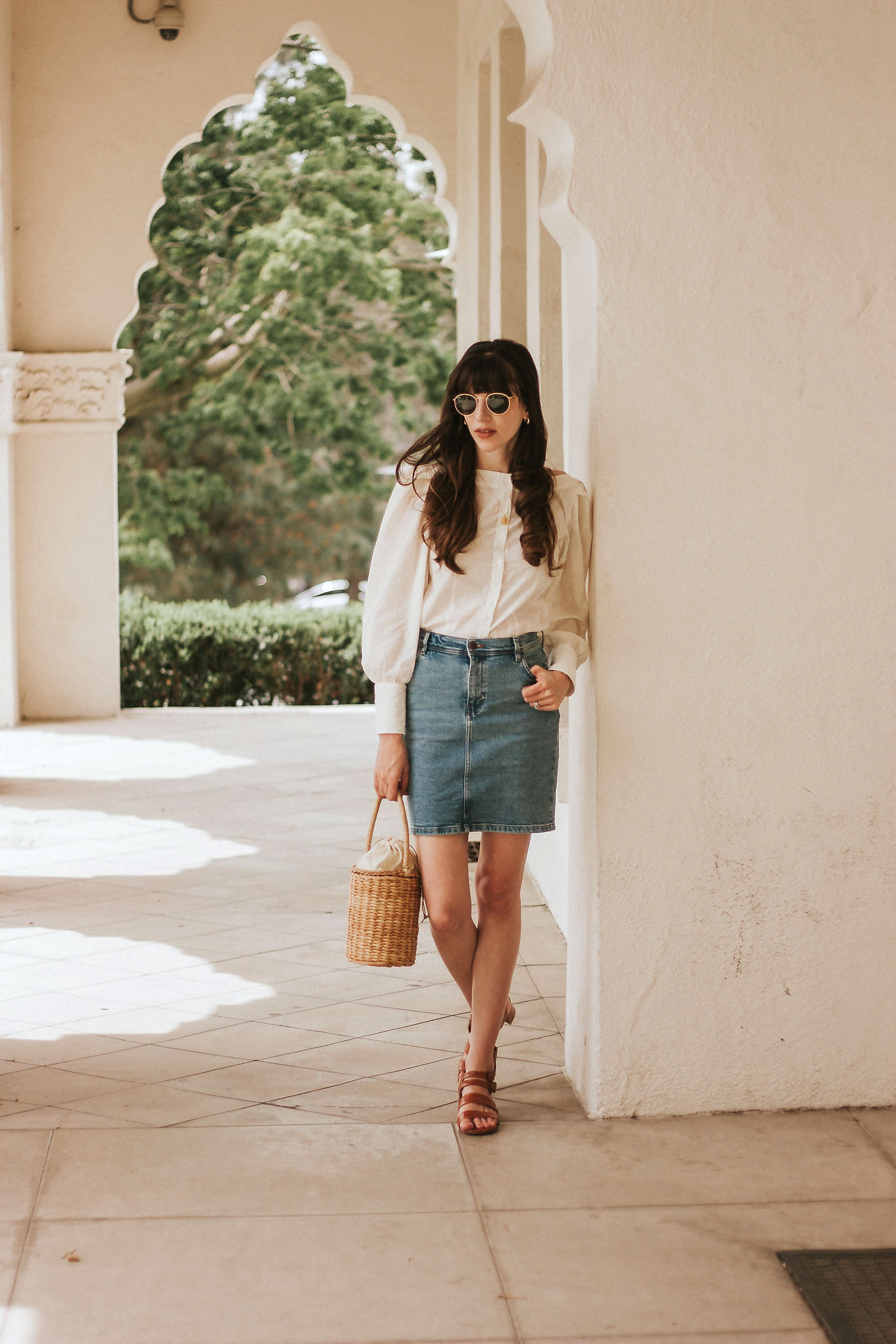 Jeans and a Teacup Blogger wearing And Other Stories Denim Skirt and Marais USA Sandals