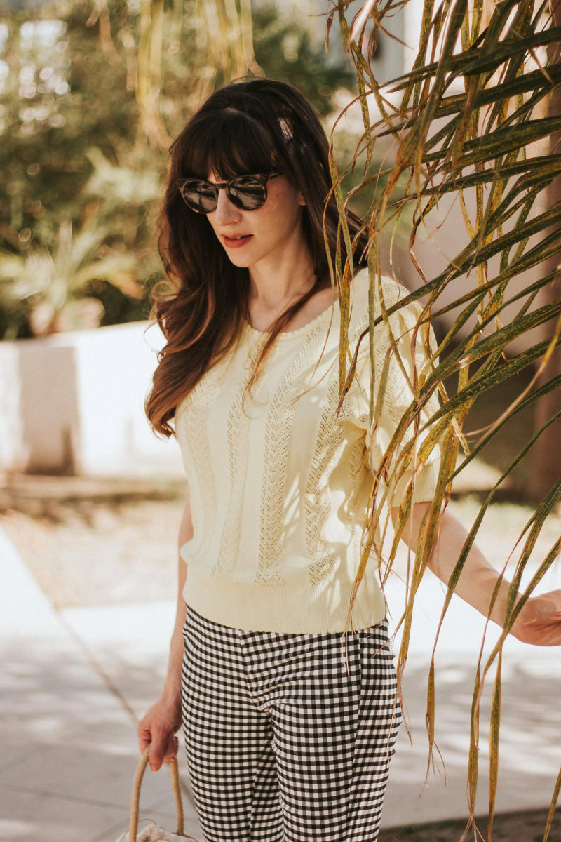 Jeans and a Teacup wearing Yellow top with gingham