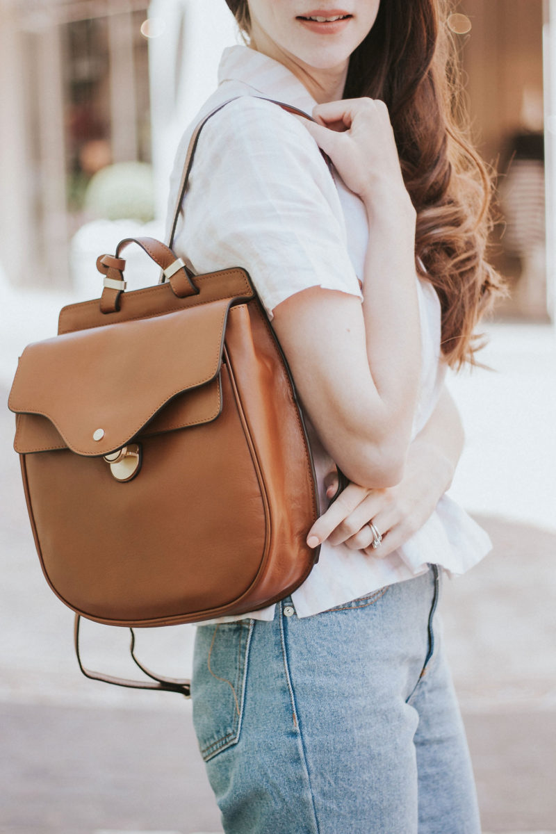 Tan leather backpack bag from Radley London
