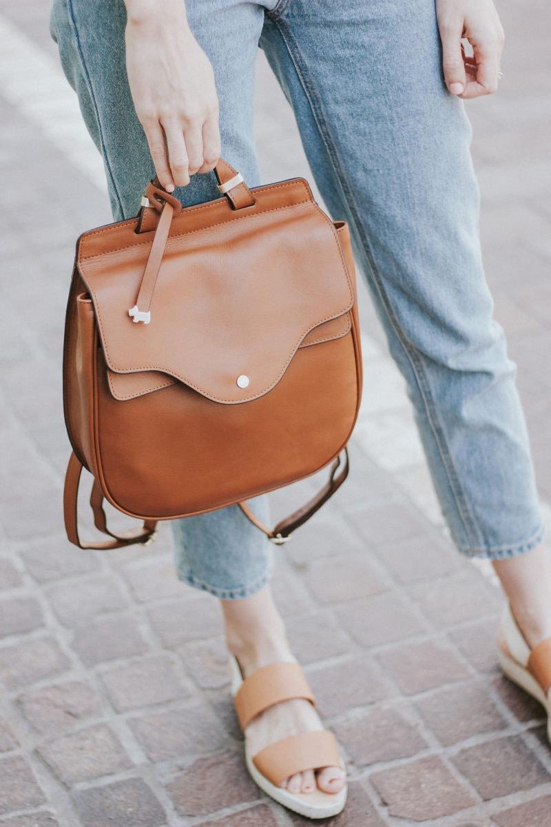 Radley London Backpack and Everlane Street Sandals