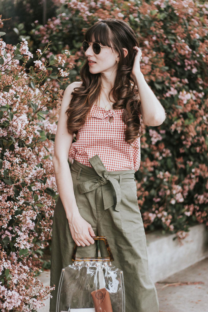 Sezane Gingham Tank with Uniqlo Tie Waist pants and Transparent Bag from Shop Girl La