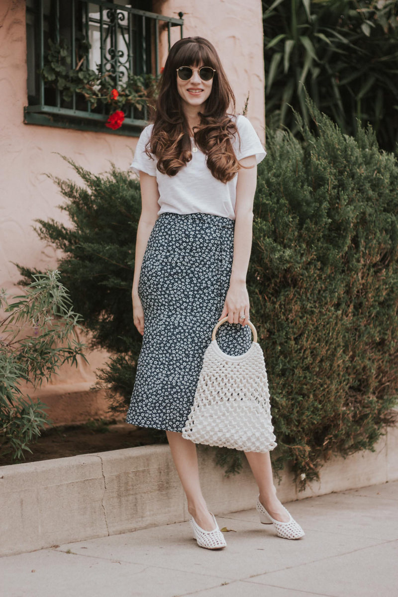 french fashion and floral midi skirts  link up  jeans