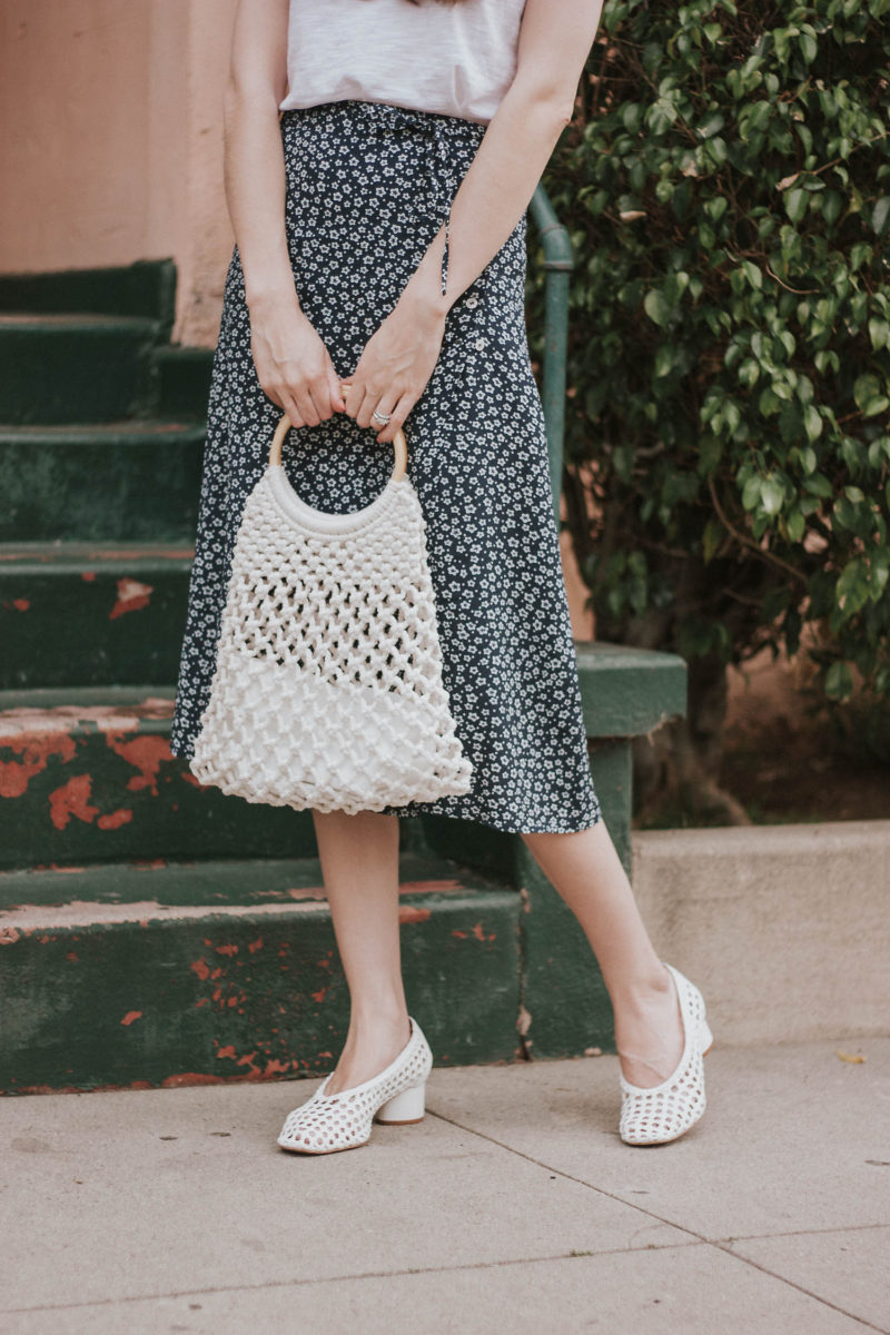 Topshop woven heels and woven bag with Rouje floral skirt