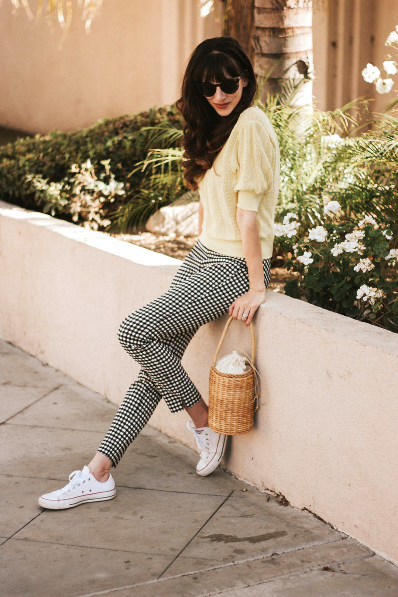 Yellow Knit Sweater with Gingham Skinny Pants, Converse Sneakers, and Straw Basket Bag