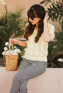Vintage Style Blogger wearing Eyelet Sweater, Gingham Pants and Straw Basket