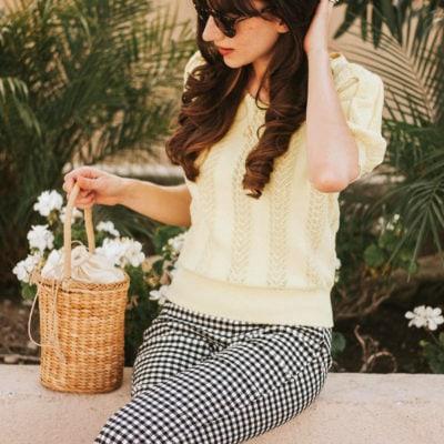 Vintage Style Blogger wearing Eyelet Sweater, Gingham Pants and Straw Basket