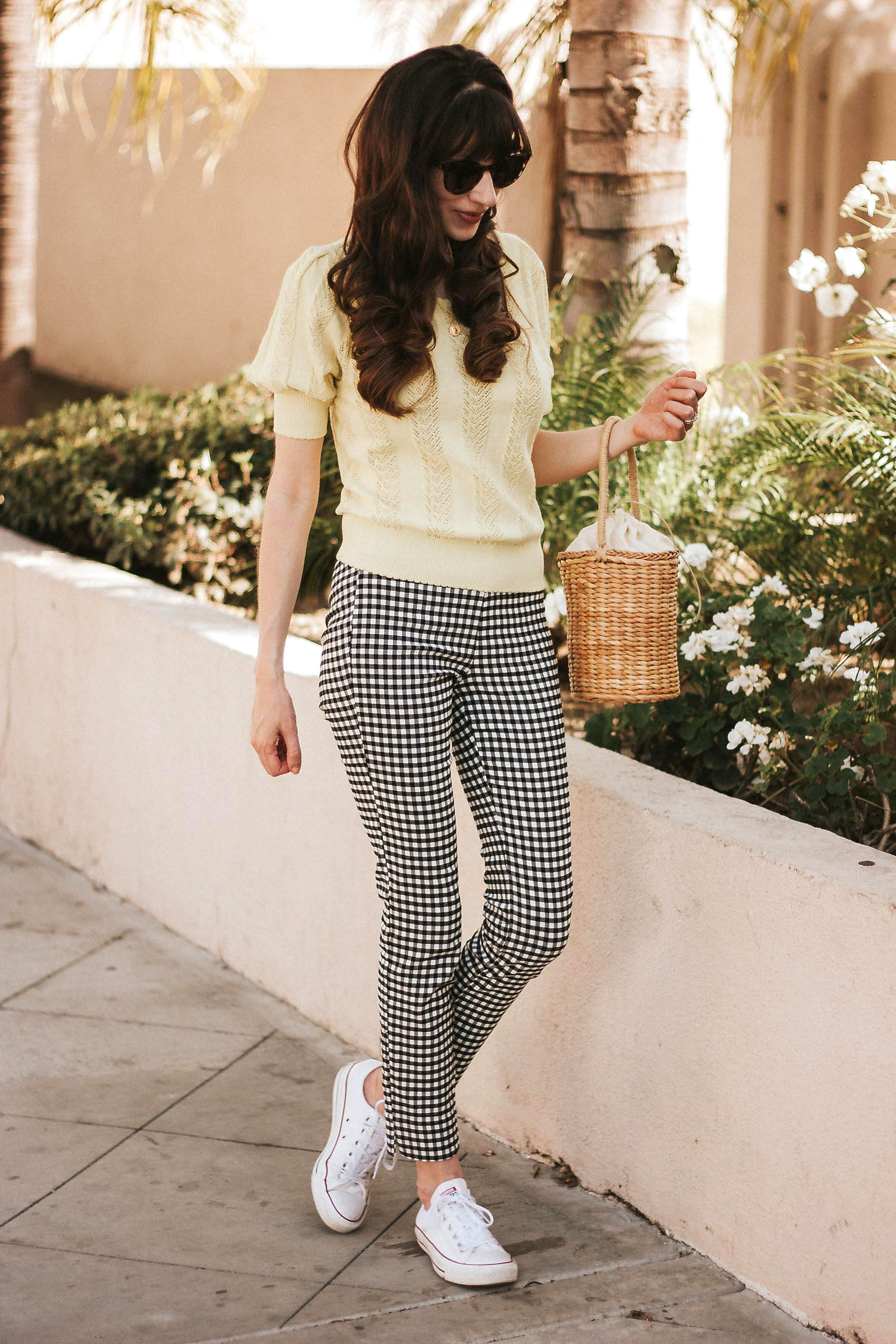 Los Angeles Style Blogger wearing Who What Wear Gingham Pants and & Other Stories Sweater
