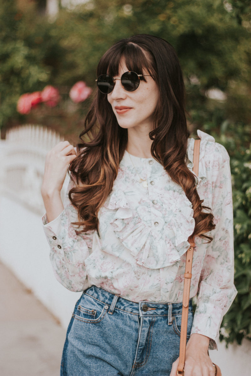 Los Angeles Fashion Blogger with Diff Sunglasses and Floral Shirt