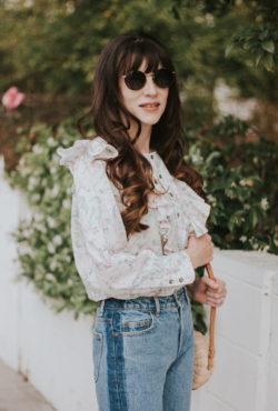 Diff Round Sunglasses, Floral Blouse, Two tone denim