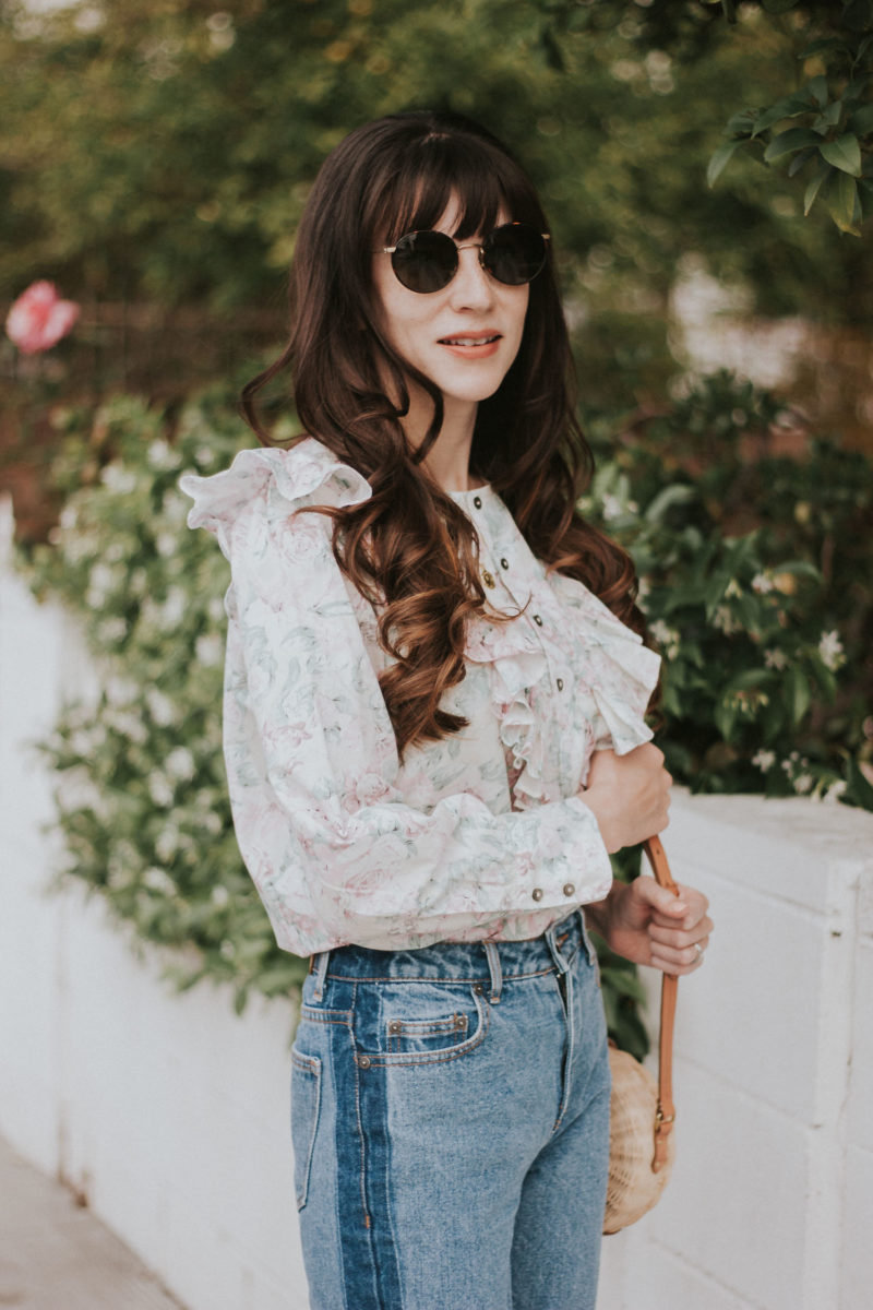 Diff Round Sunglasses, Floral Blouse, Two tone denim