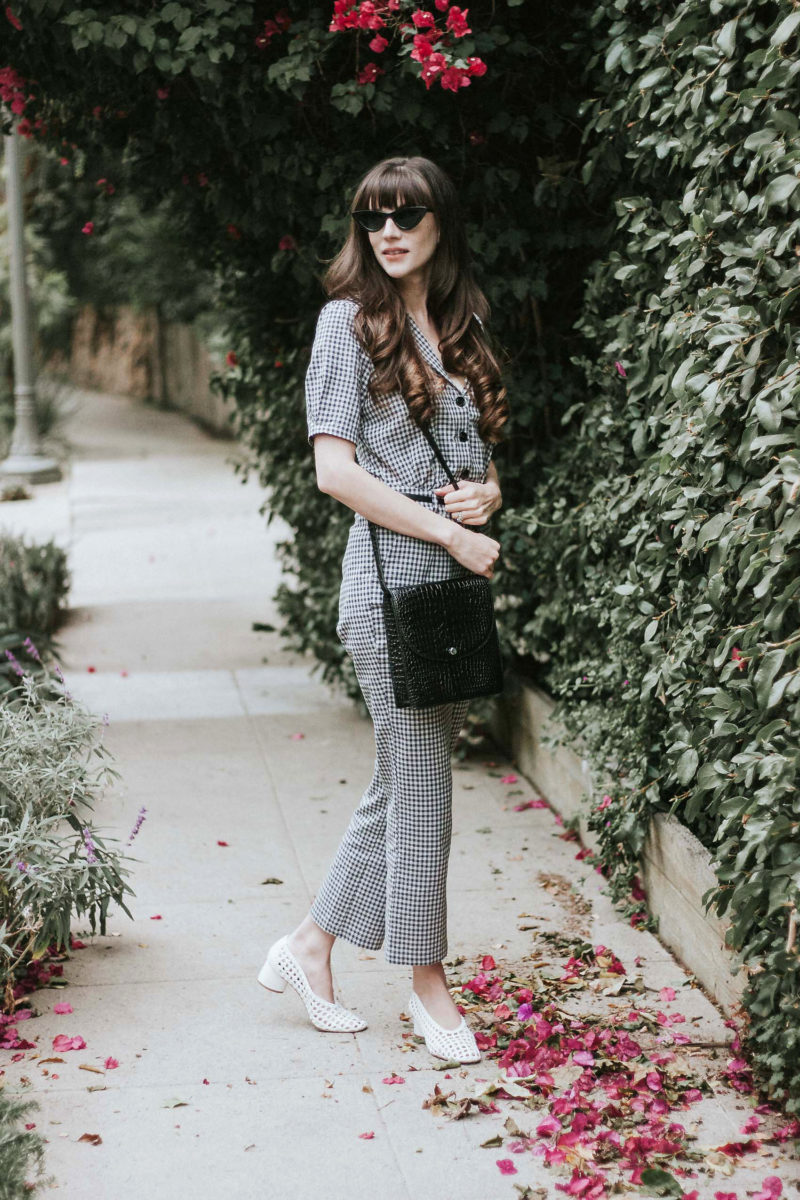 Grey Gingham Jumpsuit on California Style Blogger