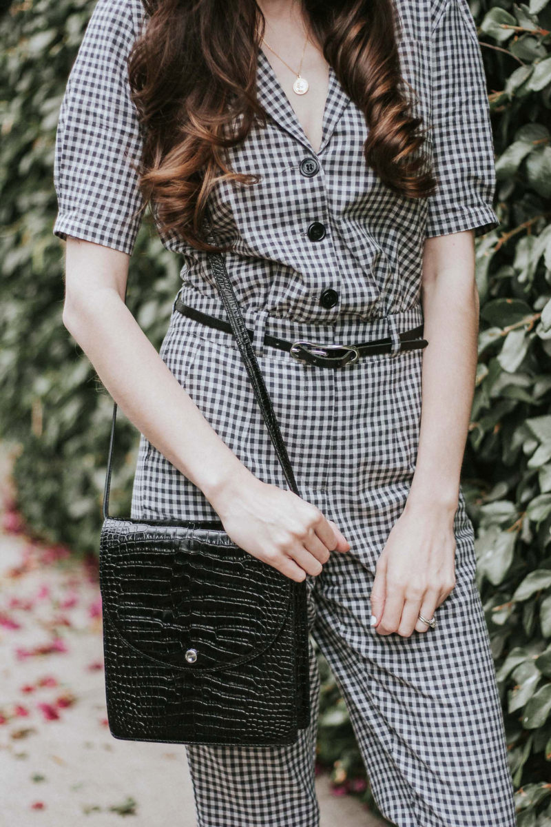 Elizabeth and James Croc Embossed Crossbody bag and Gingham Jumpsuit
