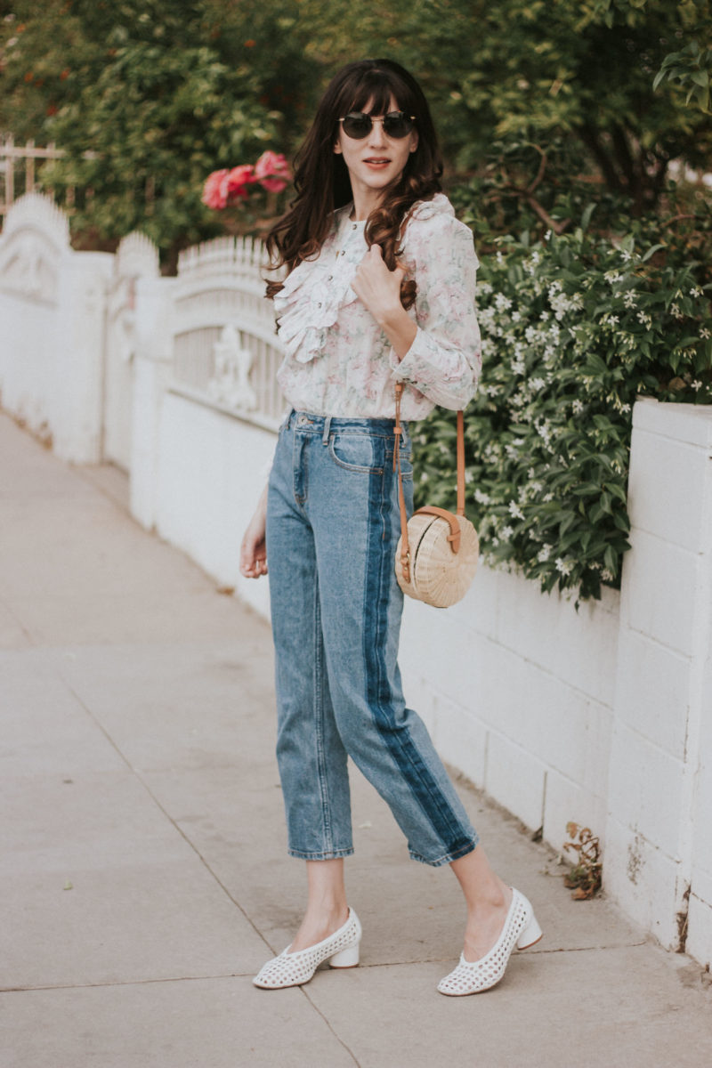 California Style Blogger wearing Frank and Oak Denim and Floral Top from Rebecca Taylor