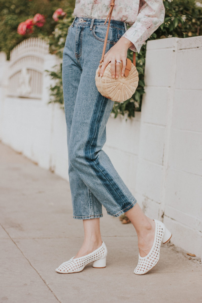 Two Tone Denim from Frank and Oak, Woven Heels, and Straw Circle Bag from J.Crew