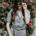 French Gingham Jumpsuit and Zara Cat Eye Sunglasses