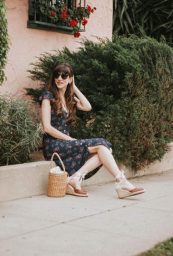 Summer Midi Dress from France on California Fashion Blogger