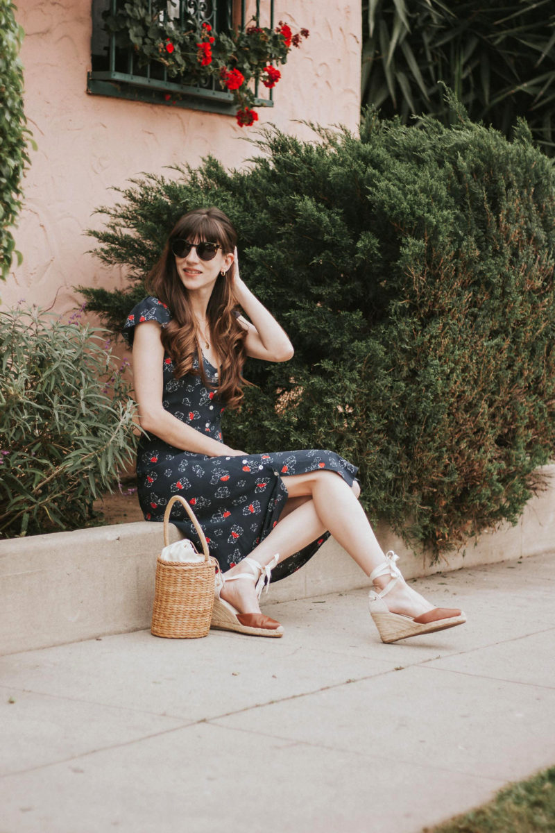 Summer Midi Dress from France on California Fashion Blogger