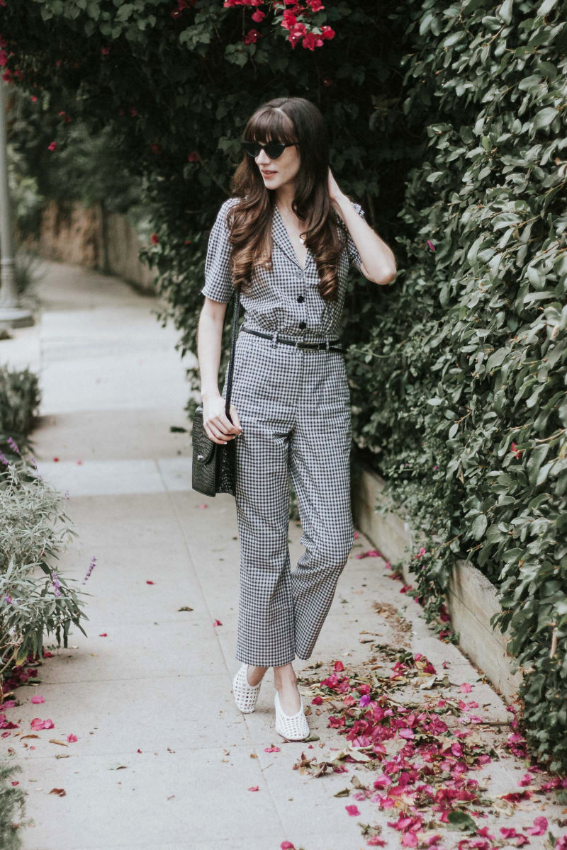 Gingham Jumpsuit from French Fashion Brand Musier Paris on Los Angeles Fashion Blogger