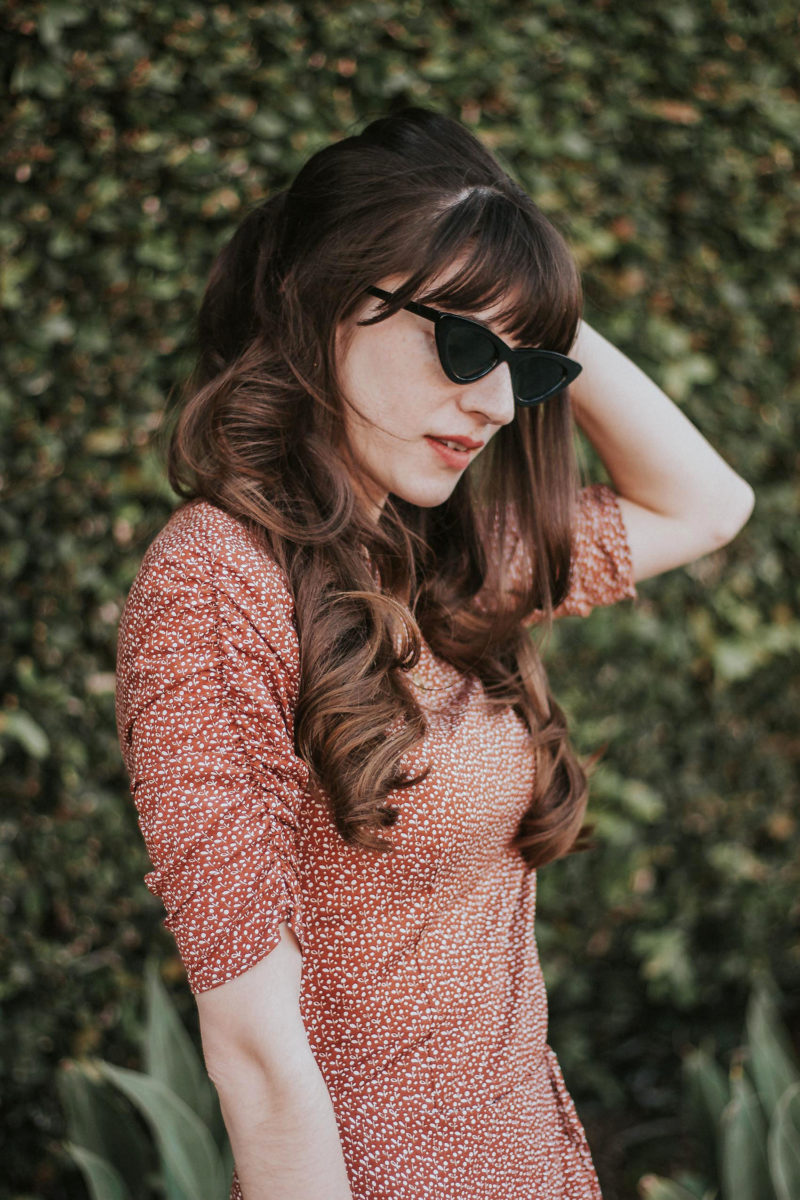 Musier Paris Dress with Ruched Sleeves and Zara Cat Eye Sunglasses