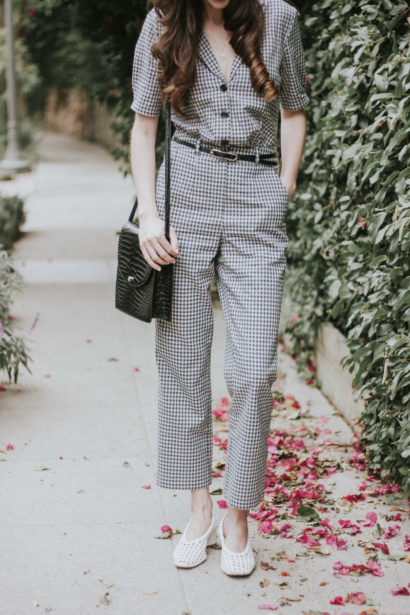 Musier Paris Grey Check Jumpsuit and Topshop Heels Gingham Outfits