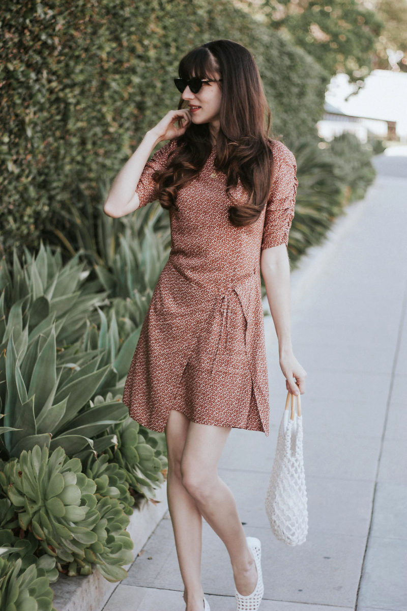 French Style Wrap Dress and Topshop Net Bag