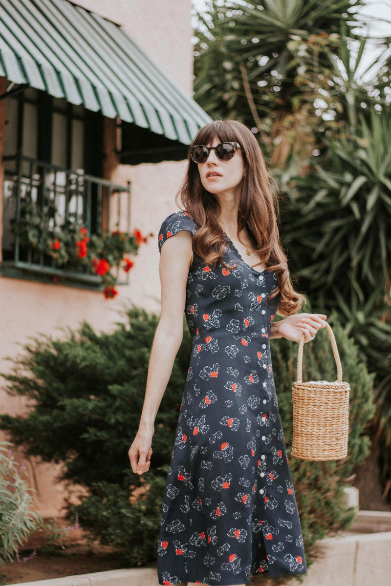 Navy Button Front Dress with Basket Bag and Cat Eye Sunglasses