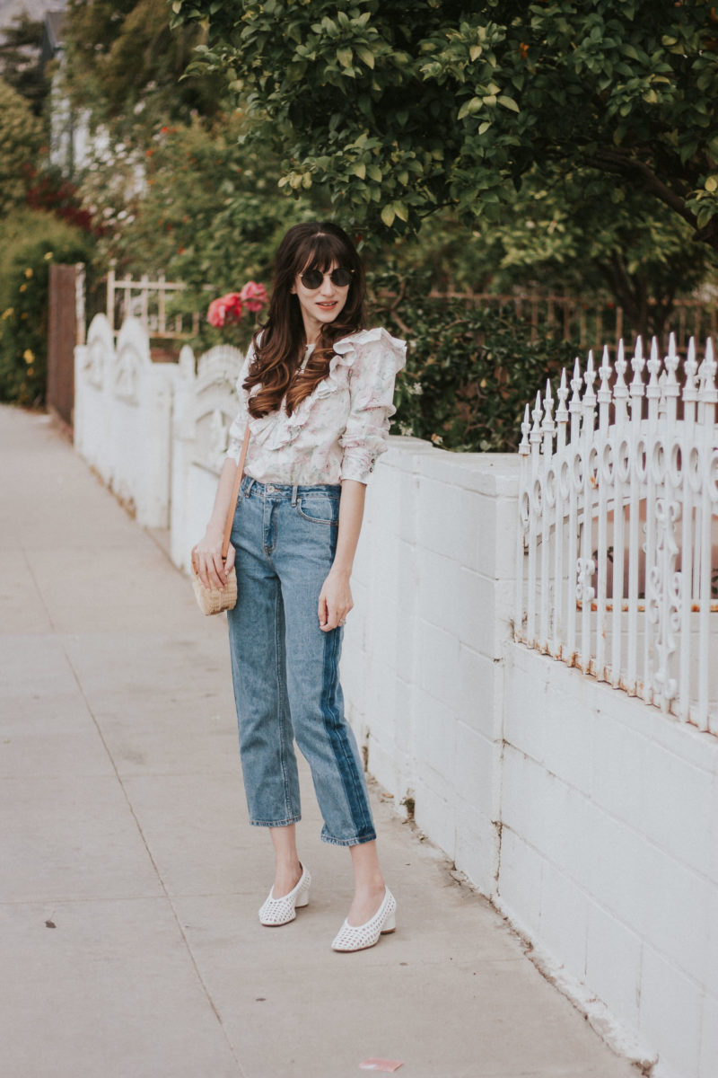 Floral Ruffle Shirt from Rebecca Taylor and Frank and Oak denim on Los Angeles Style Blogger