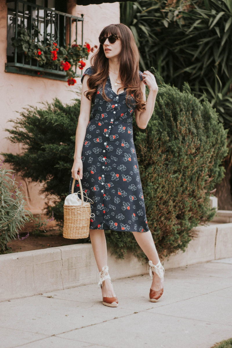 Rouje Midi Dress with Soludos Wedge Espadrilles