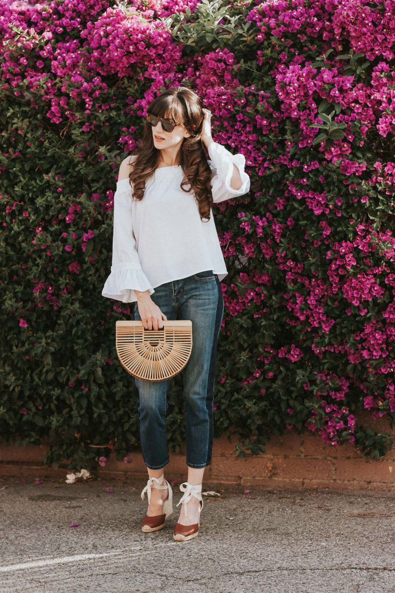 06b4957343a Banana Republic Spring Style Outfit on Los Angeles Fashion Blogger Off the  Shoulder Ruffle Sleeve Top from Banana Republic and Cult Gaia ...