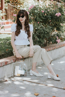 Woven Topshop Shoes, & Other Stories Pants, Rouje Blouse, and Shop Girl LA Clear Bag