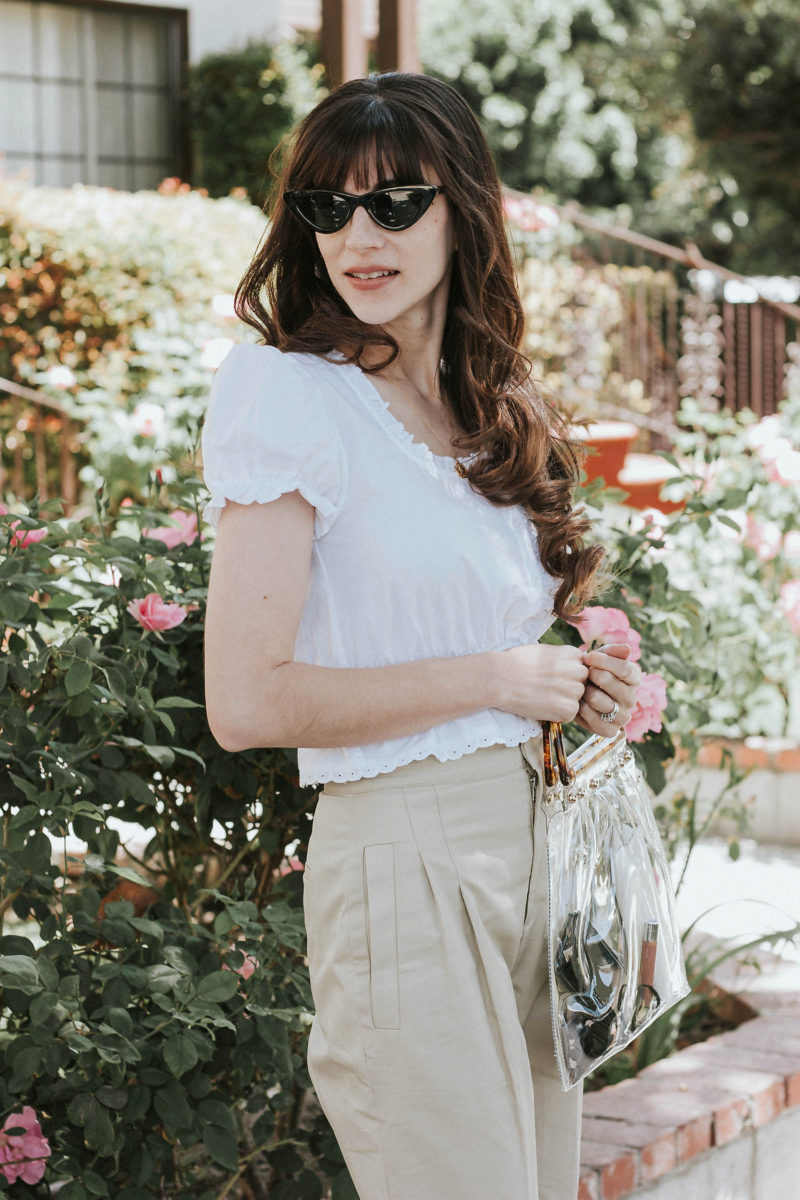 Zara Slim Cat Eye Sunglasses with White Cotton Cropped Blouse and Clear PVC Bag