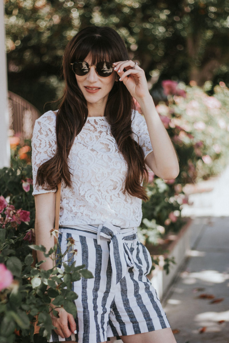 Diff Round Sunglasses with lace tee and striped tie waist shorts