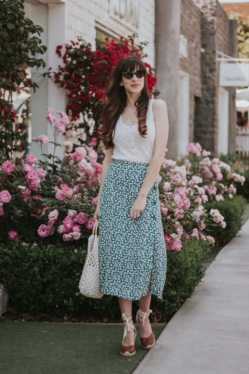Rouje inspired floral midi skirt with button tank and soludos wedge espadrilles. Affordable summer style. Parisian style