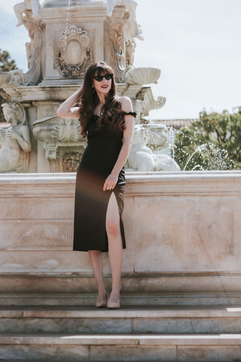 Los Angeles Style blogger wearing a Musier Paris Little Black Dress and James Chan heels