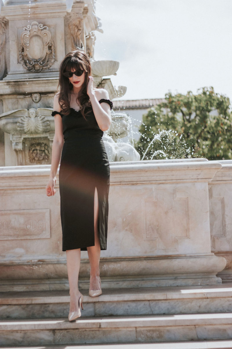 Jeans and a Teacup fashion blogger wearing a little black midi dress from French brand Musier Paris - Dressing like a French Girl