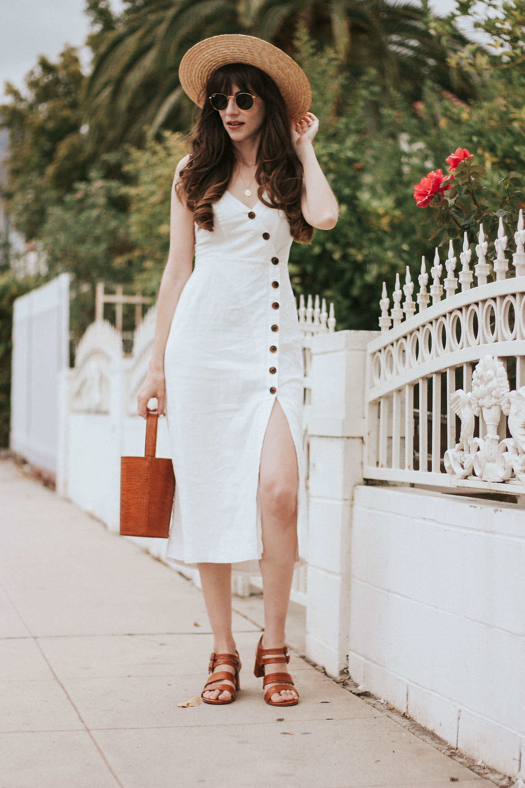 White Button Front Midi Dress with Marais USA Sandals and Bucket Bag