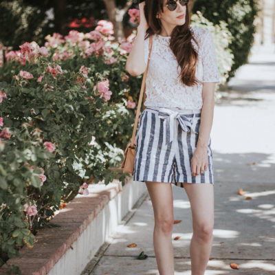 Who What Wear Collection Striped Tie Waist Shorts with Lace Tee and Loeffler Randall Bag