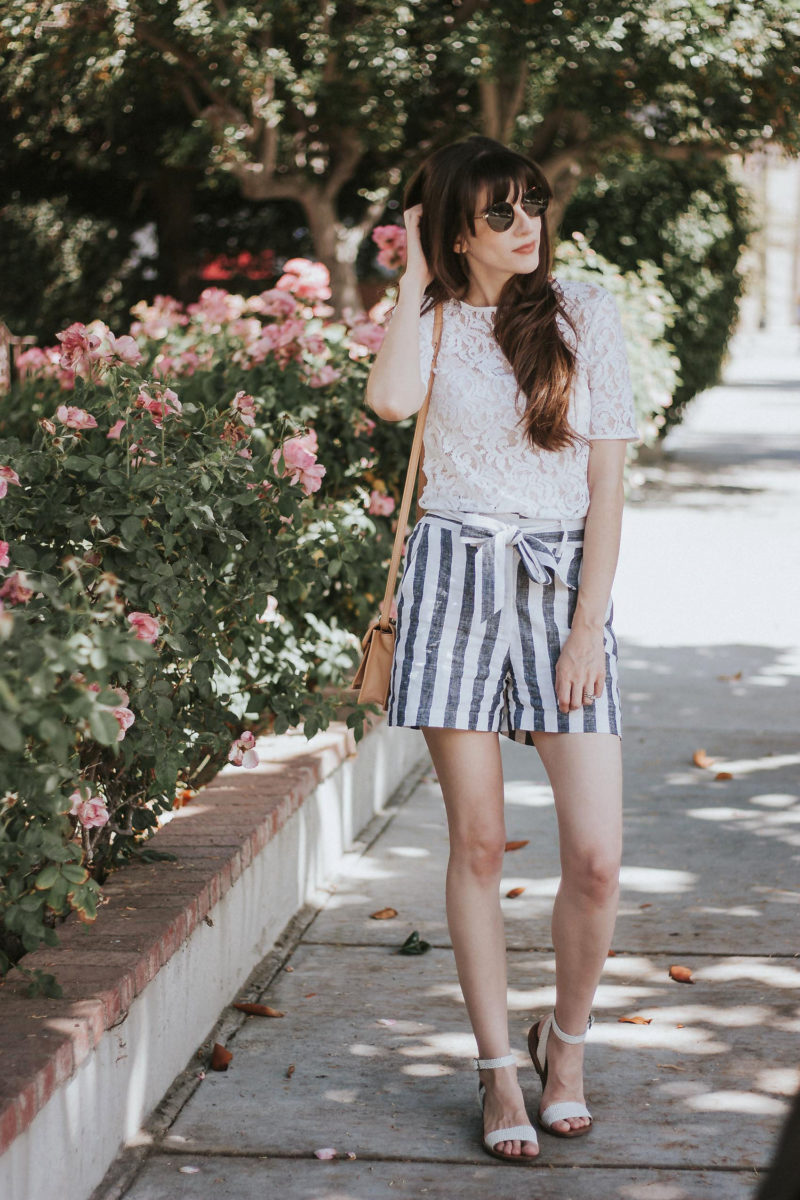 Who What Wear Collection Striped Tie Waist Shorts with Lace Tee and Loeffler Randall Bag - summer shorts