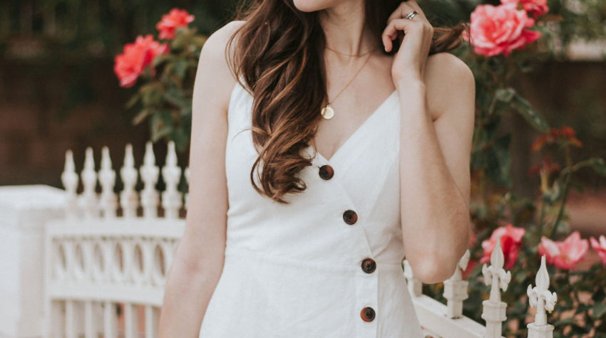 Jeans and a Teacup wearing white summer dress with buttons and straw hat - white summer dresses
