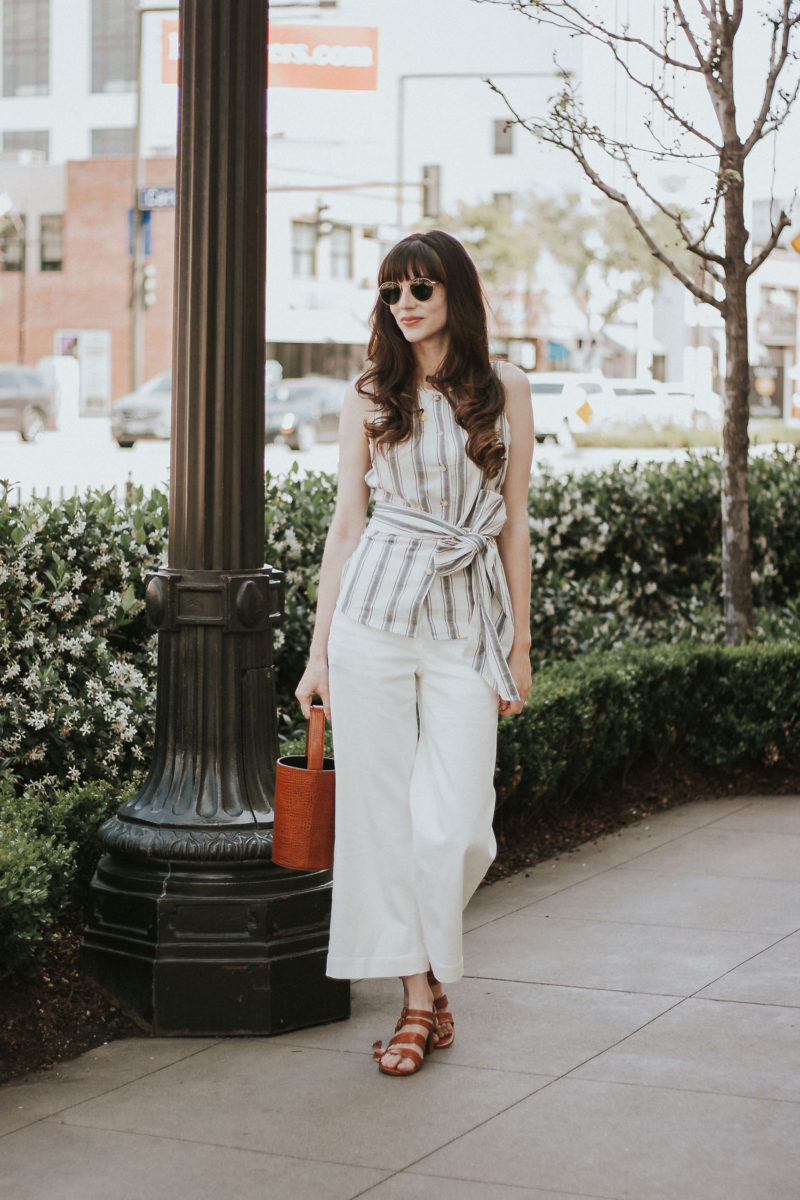 Jeans and a Teacup wearing Who What Wear Collection Top with Everlane Wide Leg Pants and Marais USA Accessories