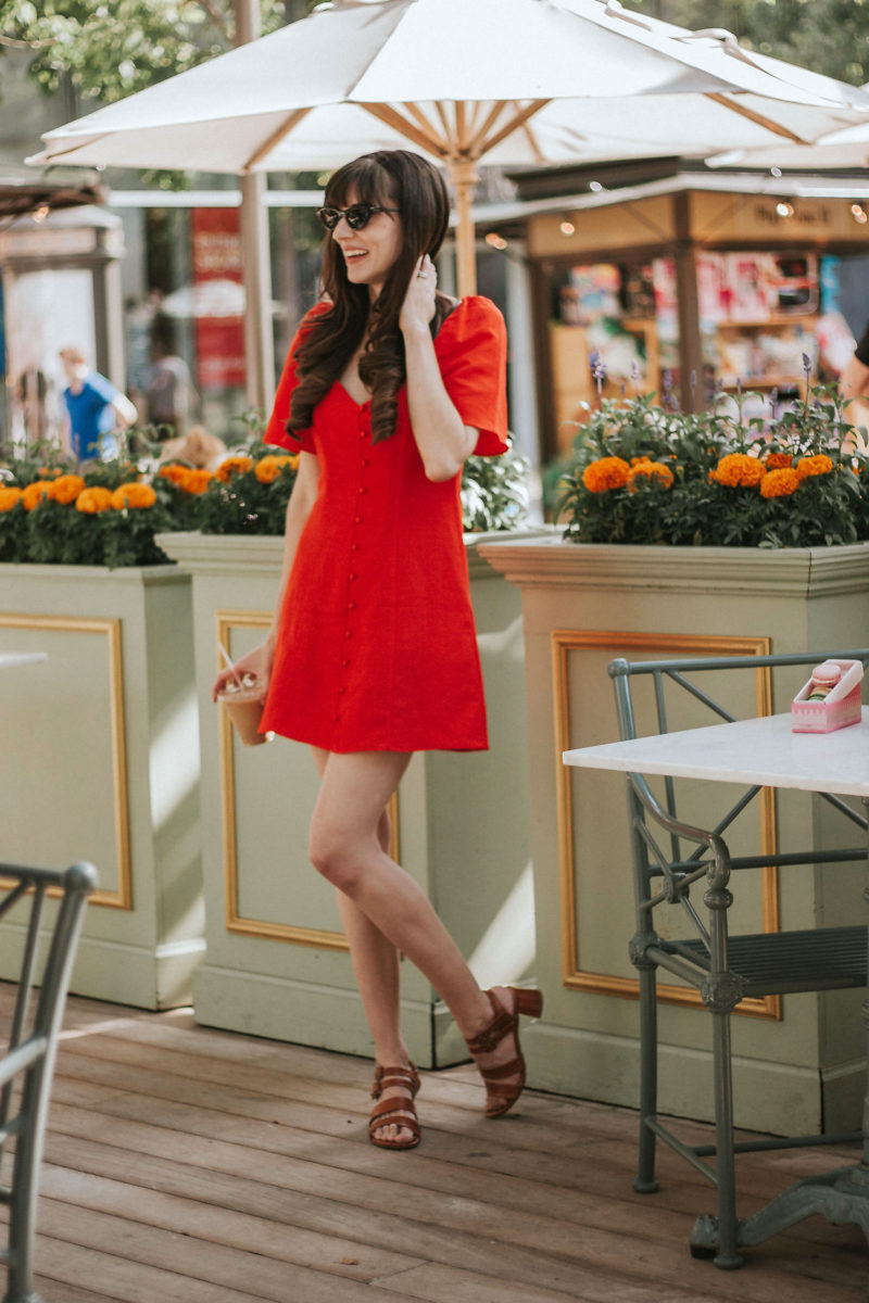 95c42463 The Perfect Little Red Dress for Summer: Zara Button Front Dress with  Marais USA Sandals ...