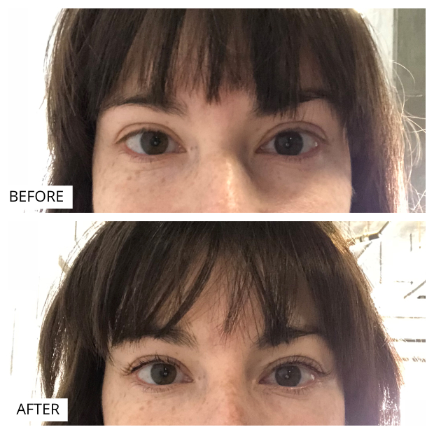Before and After photos from a lash lift at Iris and West