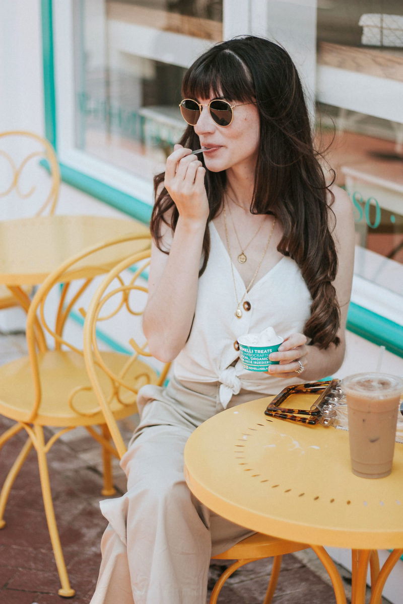 Jeans and a Teacup wearing a button front Linen tank from Topshop and Mejuri locket necklace