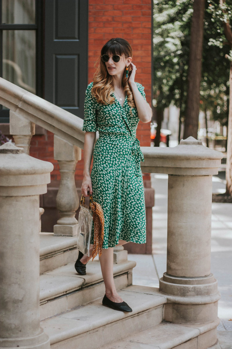 Fashion blogger in Philly wearing a green ganni dress and everlane day glove flats