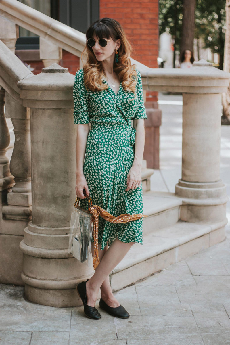 Green floral wrap dress with Clear Vintage style bag