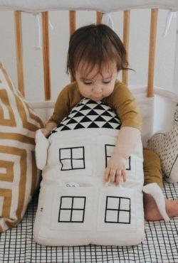 Imani Collective Interactive House Pillow Plush Baby Toy - Nursery Decor