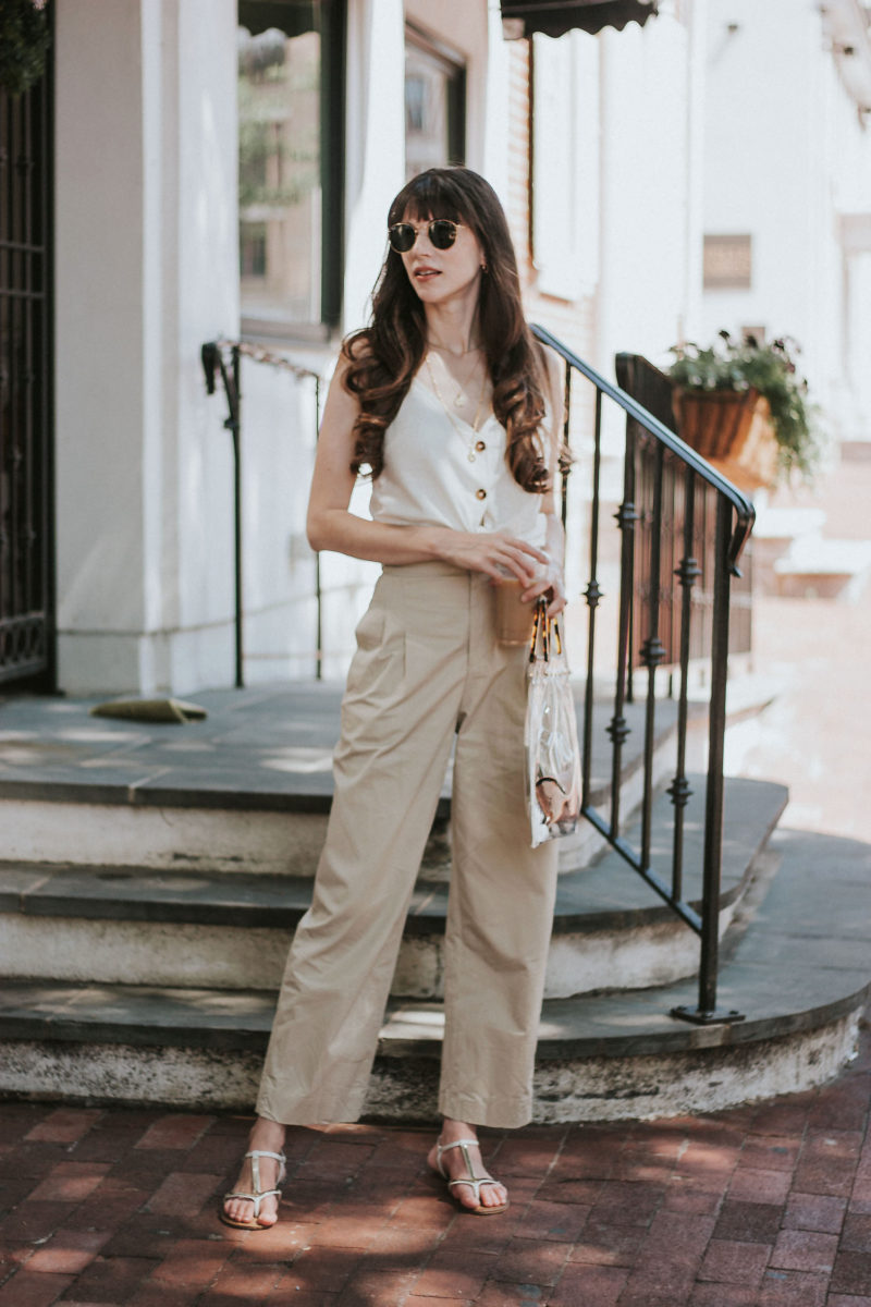 Philly Style Blogger wearing & Other Stories Trousers and Topshop linen tank