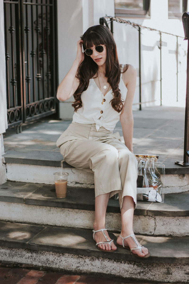 Neutral summer outfit on Philadelphia style blogger, Jeans and a Teacup