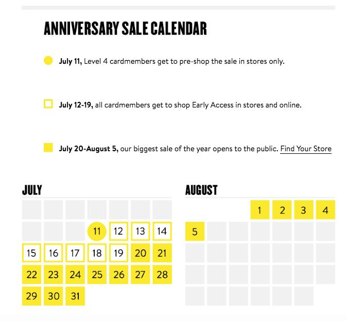 Nordstrom Anniversary Sale Dates 2018