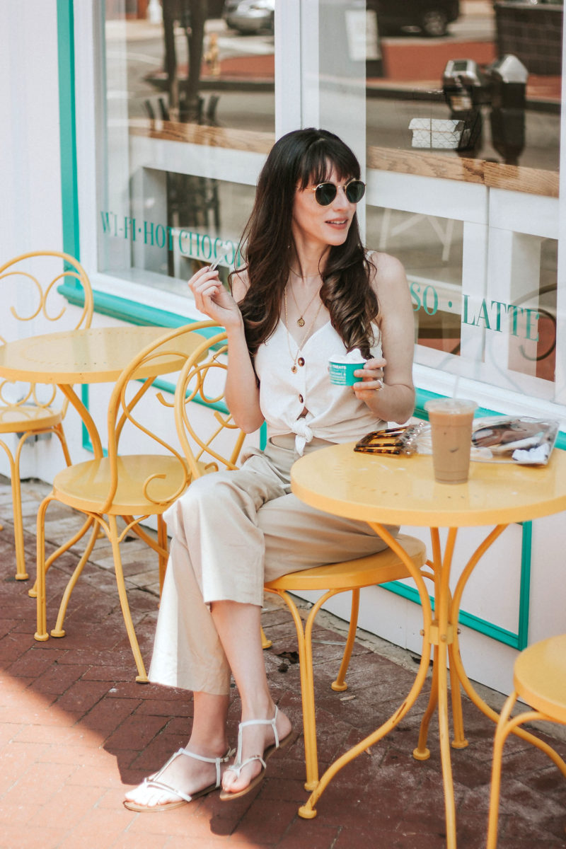 Jeans and a Teacup at West Chest Gelato Shop Gemelli in a neutral outfit for summer